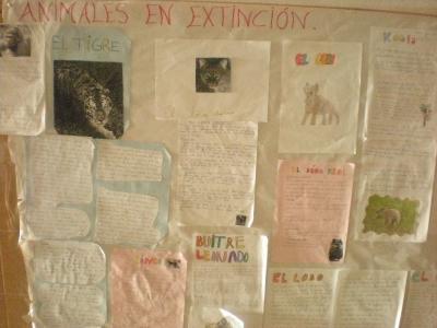 Mural sobre animales en extinción